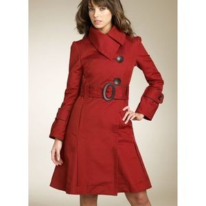 SOIA & KYO Red Asymmetrical Trench Coat M